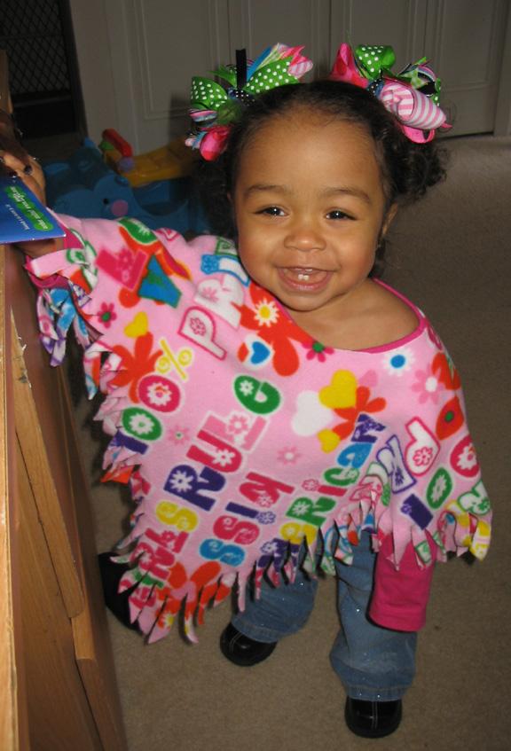 No Sew Toddler Fleece Poncho
